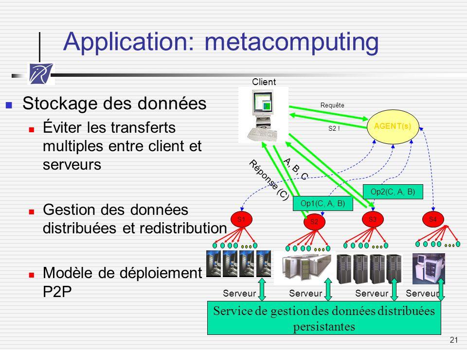 21 Application: metacomputing Stockage des données Éviter les transferts multiples entre client et serveurs Gestion des données distribuées et redistr