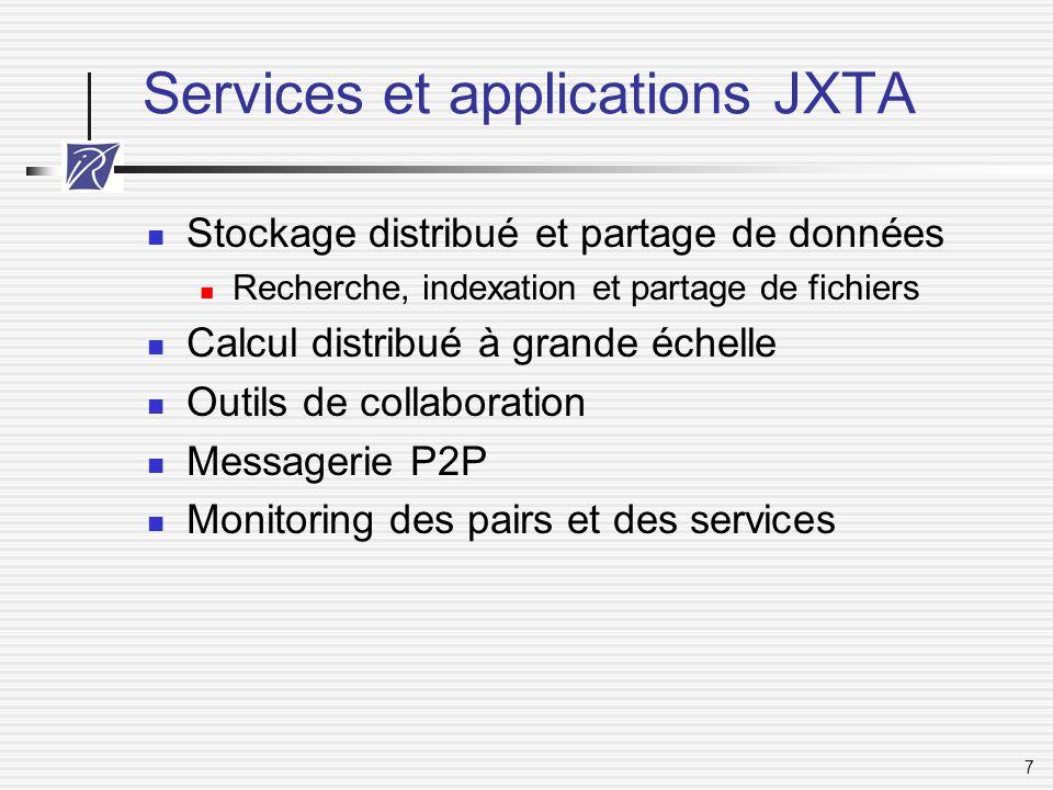 7 Services et applications JXTA Stockage distribué et partage de données Recherche, indexation et partage de fichiers Calcul distribué à grande échell
