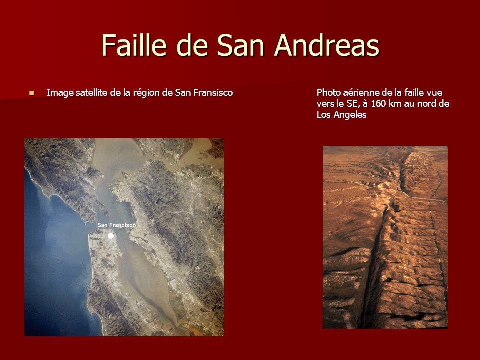Faille de San Andreas Image satellite de la région de San FransiscoPhoto aérienne de la faille vue vers le SE, à 160 km au nord de Los Angeles Image s