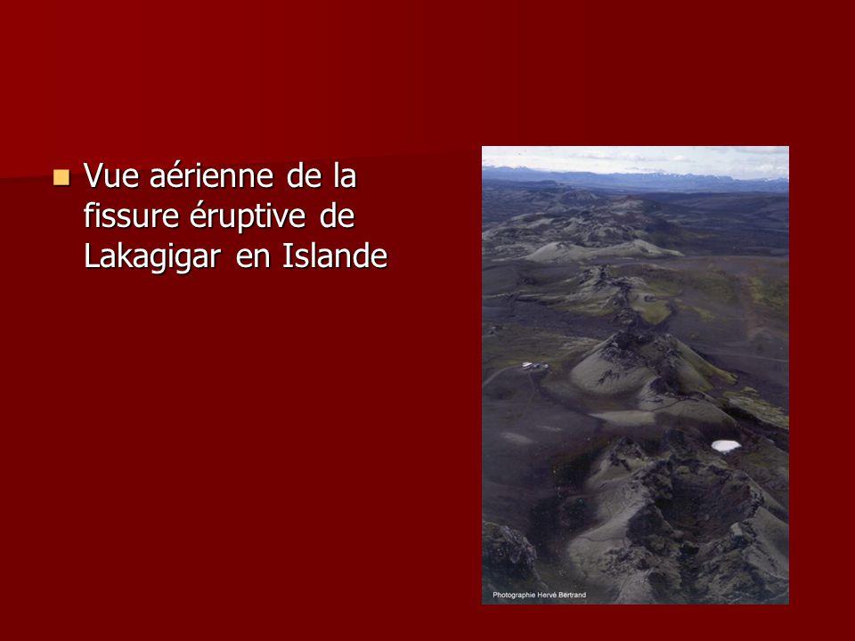 Vue aérienne de la fissure éruptive de Lakagigar en Islande Vue aérienne de la fissure éruptive de Lakagigar en Islande