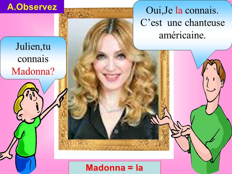Julien,tu connais Madonna. A.Observez Madonna = la Oui,Je la connais.