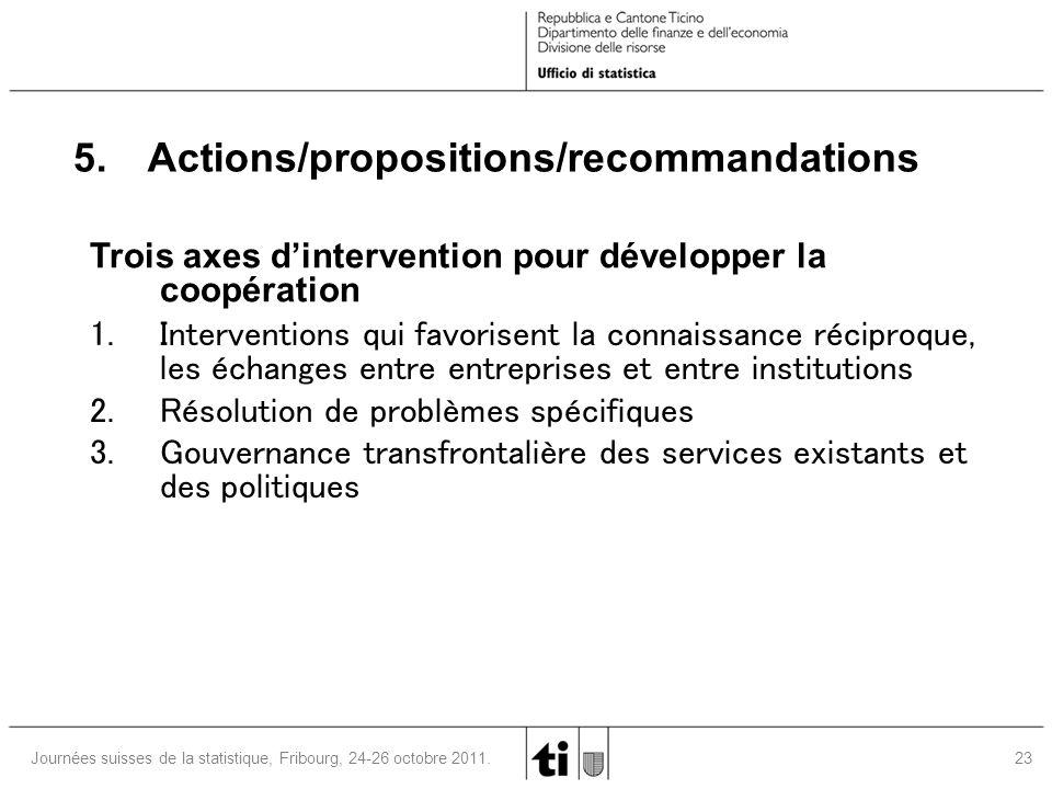 23 Journées suisses de la statistique, Fribourg, 24-26 octobre 2011. 5. Actions/propositions/recommandations Trois axes d'intervention pour développer