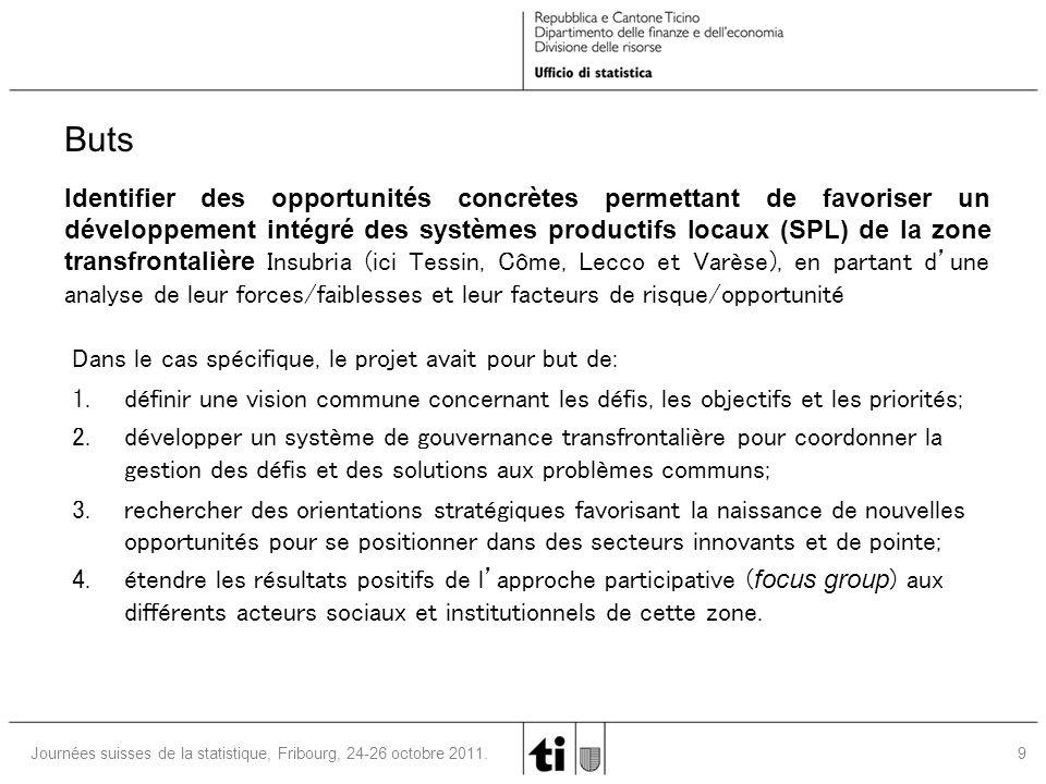 9 Journées suisses de la statistique, Fribourg, 24-26 octobre 2011. Dans le cas spécifique, le projet avait pour but de: 1. définir une vision commune