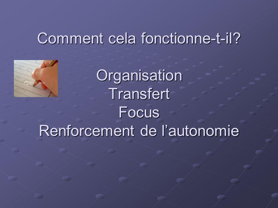 Comment cela fonctionne-t-il? Organisation Transfert Focus Renforcement de l'autonomie Comment cela fonctionne-t-il? Organisation Transfert Focus Renf