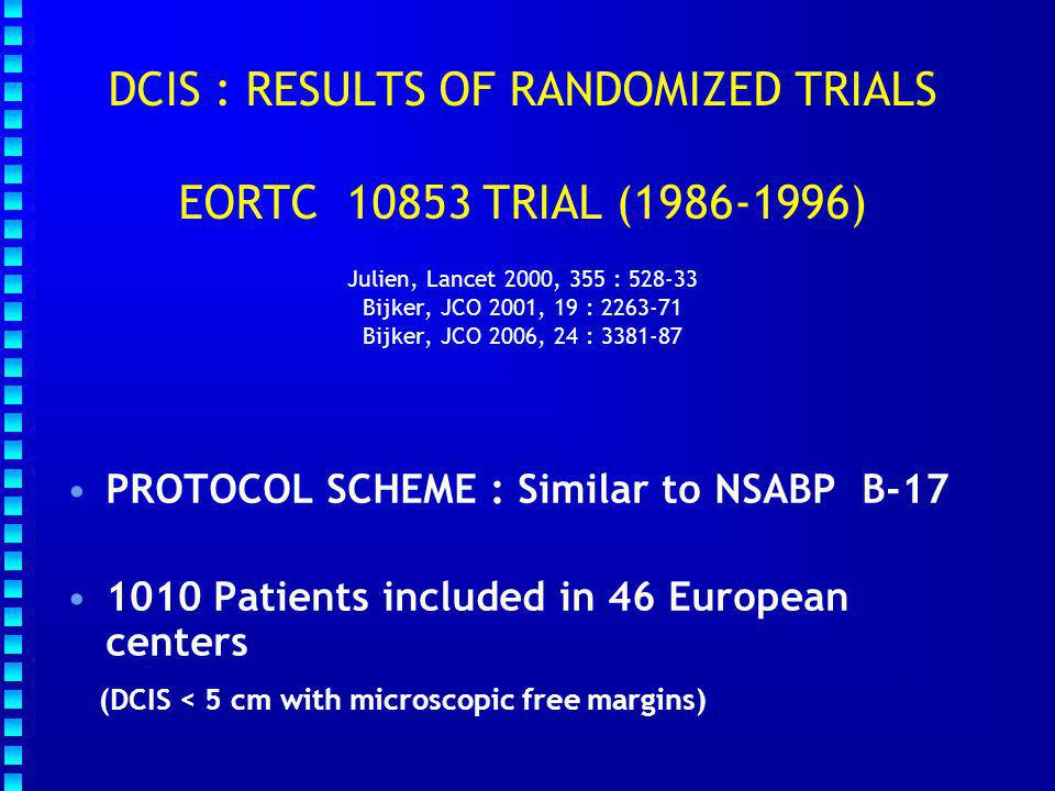 DCIS : RESULTS OF RANDOMIZED TRIALS EORTC 10853 TRIAL (1986-1996) Julien, Lancet 2000, 355 : 528-33 Bijker, JCO 2001, 19 : 2263-71 Bijker, JCO 2006, 24 : 3381-87 PROTOCOL SCHEME : Similar to NSABP B-17 1010 Patients included in 46 European centers (DCIS < 5 cm with microscopic free margins)