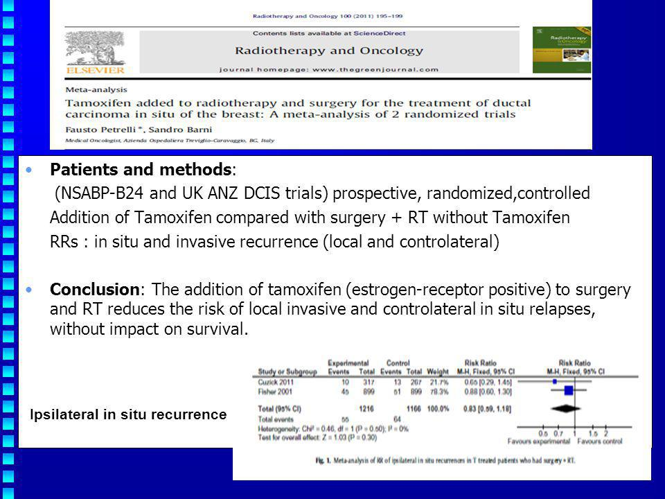 Patients and methods: (NSABP-B24 and UK ANZ DCIS trials) prospective, randomized,controlled Addition of Tamoxifen compared with surgery + RT without T