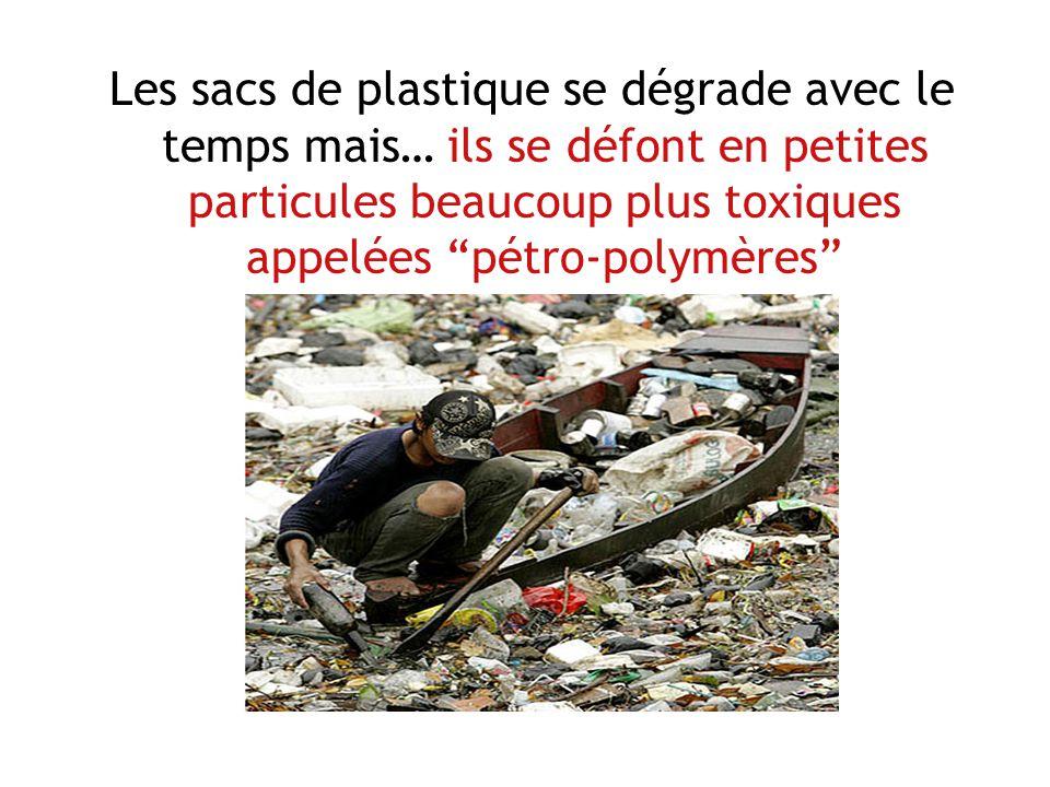 Les sacs de plastique se dégrade avec le temps mais… ils se défont en petites particules beaucoup plus toxiques appelées pétro-polymères
