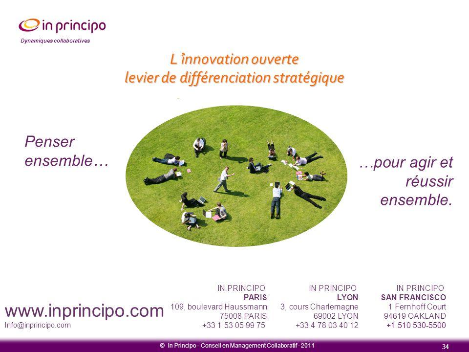 Dynamiques collaboratives © In Principo - Conseil en Management Collaboratif - 2011 34 Penser ensemble… …pour agir et réussir ensemble. L'innovation o