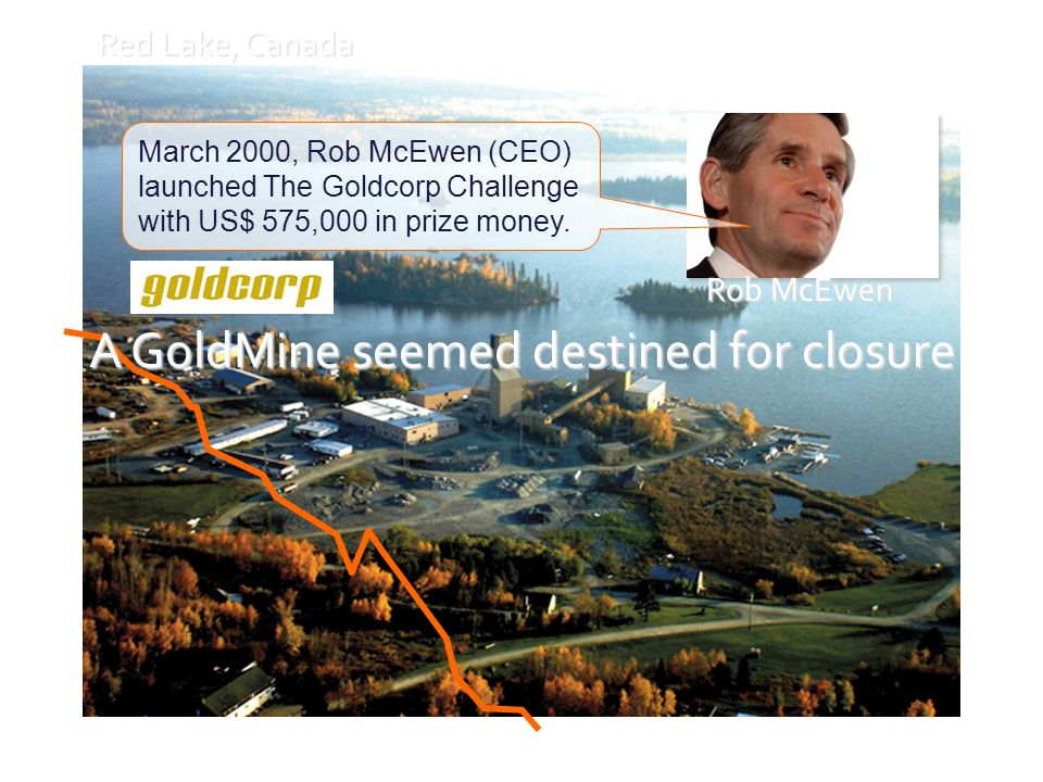 Dynamiques collaboratives Red Lake, Canada Rob McEwen March 2000, Rob McEwen (CEO) launched The Goldcorp Challenge with US$ 575,000 in prize money.