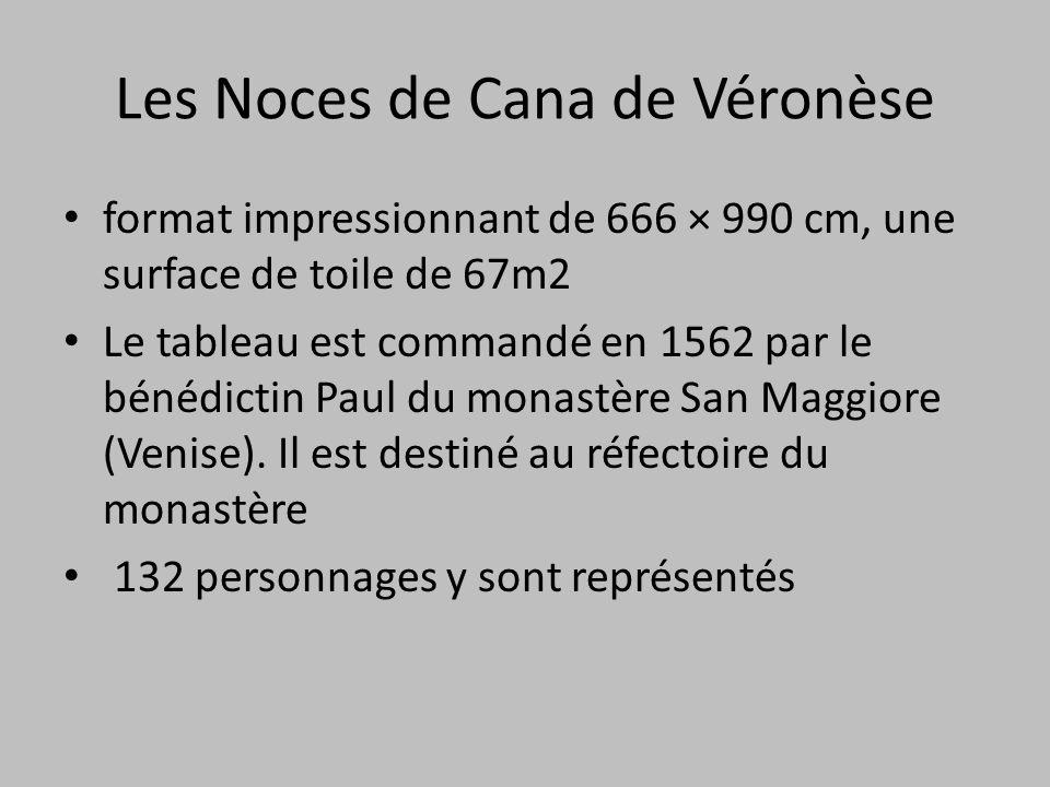 Les Noces de Cana de Véronèse format impressionnant de 666 × 990 cm, une surface de toile de 67m2 Le tableau est commandé en 1562 par le bénédictin Pa