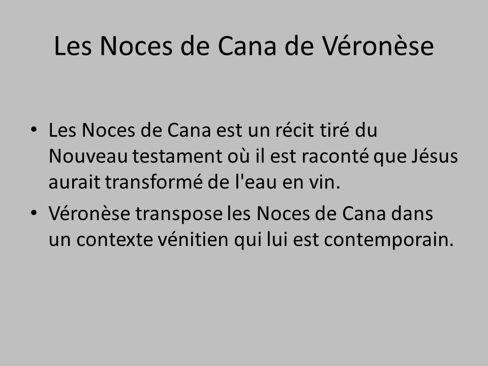 Les Noces de Cana est un récit tiré du Nouveau testament où il est raconté que Jésus aurait transformé de l'eau en vin. Véronèse transpose les Noces d