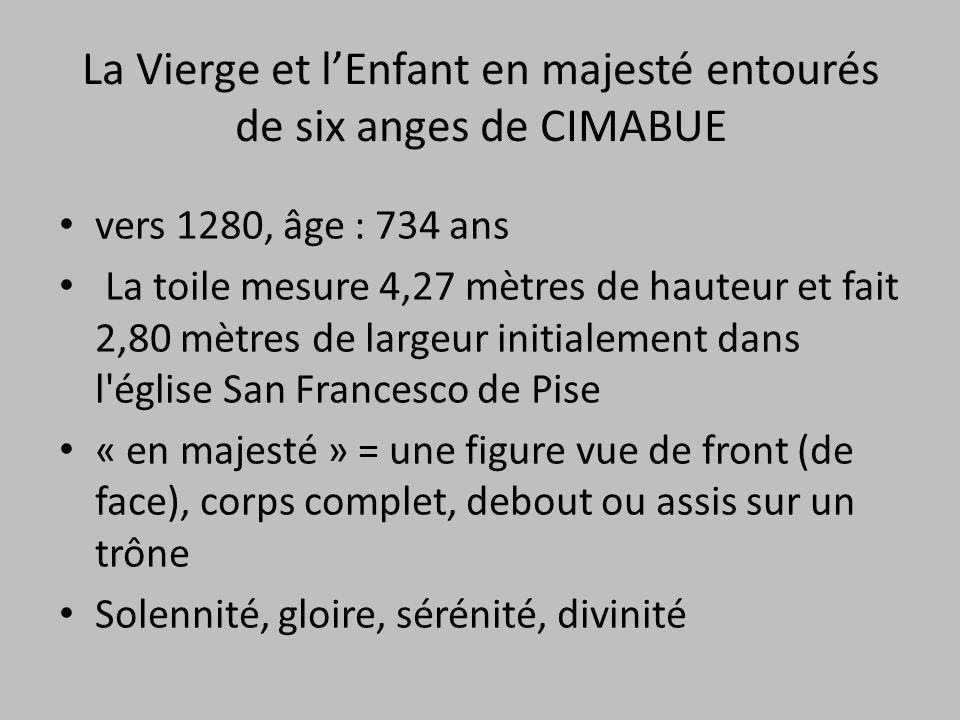 La Vierge et l'Enfant en majesté entourés de six anges de CIMABUE vers 1280, âge : 734 ans La toile mesure 4,27 mètres de hauteur et fait 2,80 mètres