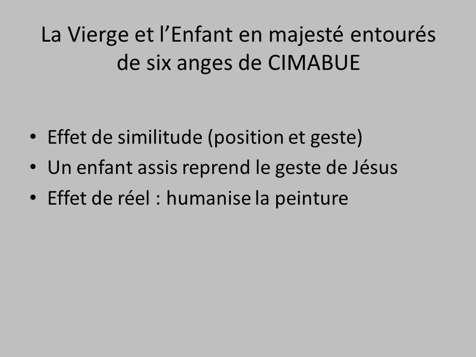 La Vierge et l'Enfant en majesté entourés de six anges de CIMABUE Effet de similitude (position et geste) Un enfant assis reprend le geste de Jésus Ef