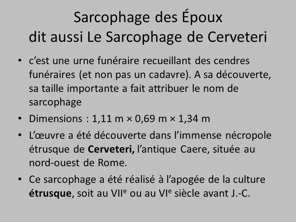 Sarcophage des Époux dit aussi Le Sarcophage de Cerveteri c'est une urne funéraire recueillant des cendres funéraires (et non pas un cadavre). A sa dé