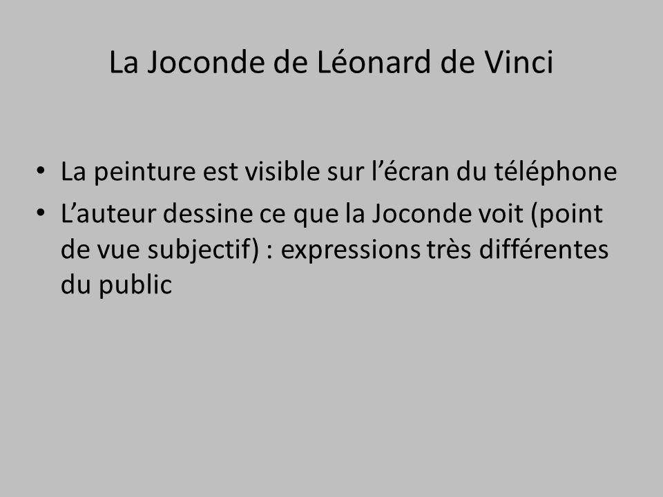 La Joconde de Léonard de Vinci La peinture est visible sur l'écran du téléphone L'auteur dessine ce que la Joconde voit (point de vue subjectif) : exp
