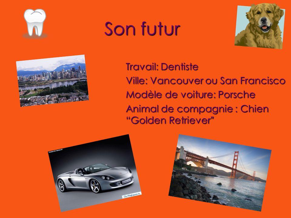 Son futur Travail: Dentiste Ville: Vancouver ou San Francisco Modèle de voiture: Porsche Animal de compagnie : Chien Golden Retriever