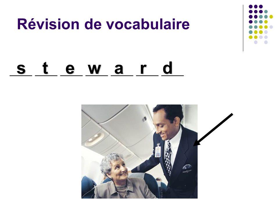 Révision de vocabulaire ____ ____ ____ ____ ____ ____ ____ steward