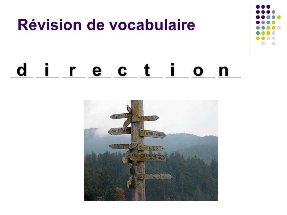Révision de vocabulaire ____ ____ ____ ____ ____ ____ ____ ____ ____ direction