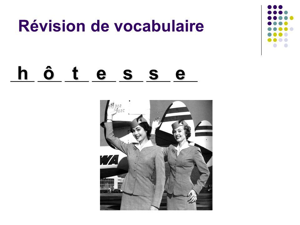 Révision de vocabulaire ____ ____ ____ ____ ____ ____ ____ hôtesse