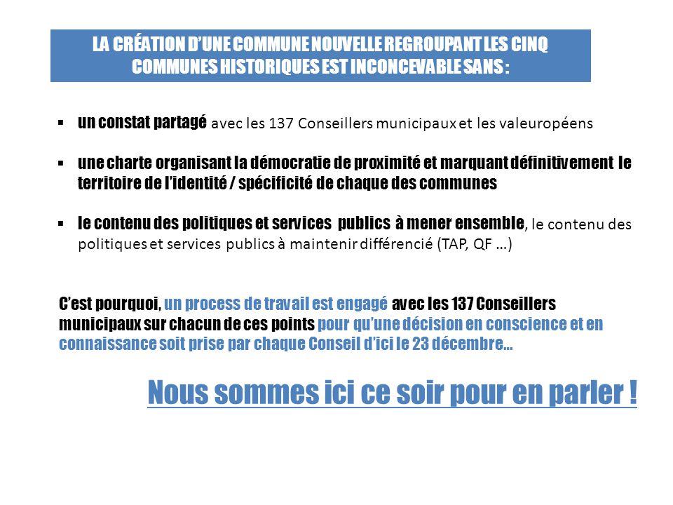 C'est pourquoi, un process de travail est engagé avec les 137 Conseillers municipaux sur chacun de ces points pour qu'une décision en conscience et en
