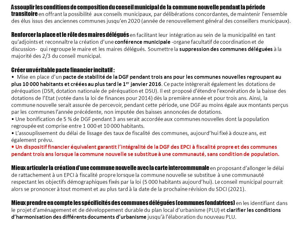 Assouplir les conditions de composition du conseil municipal de la commune nouvelle pendant la période transitoire en offrant la possibilité aux conse