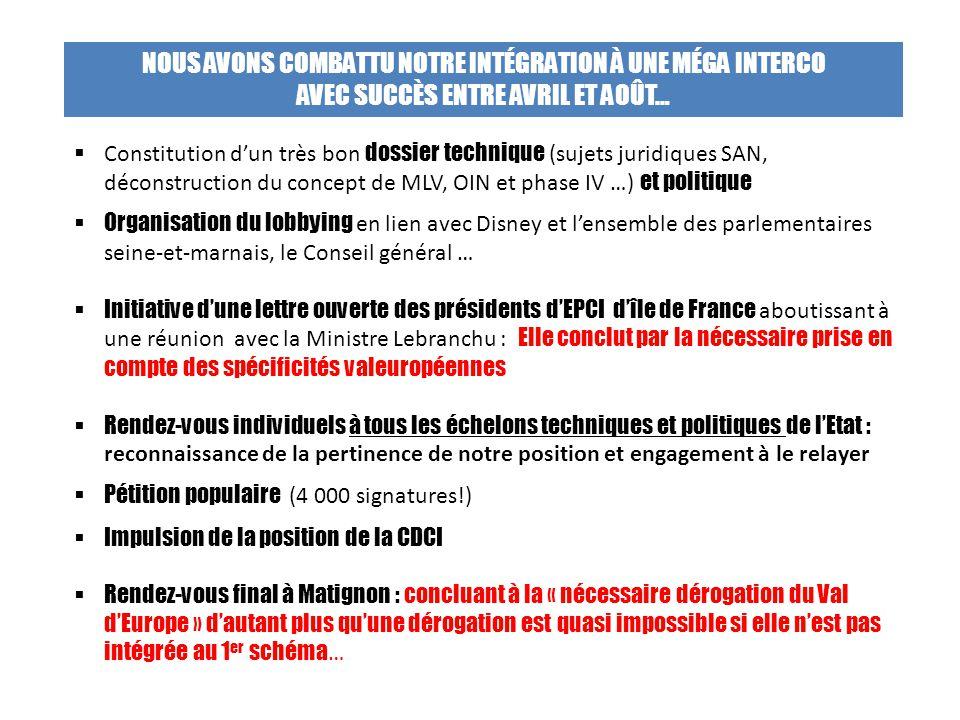  Constitution d'un très bon dossier technique (sujets juridiques SAN, déconstruction du concept de MLV, OIN et phase IV …) et politique  Organisatio