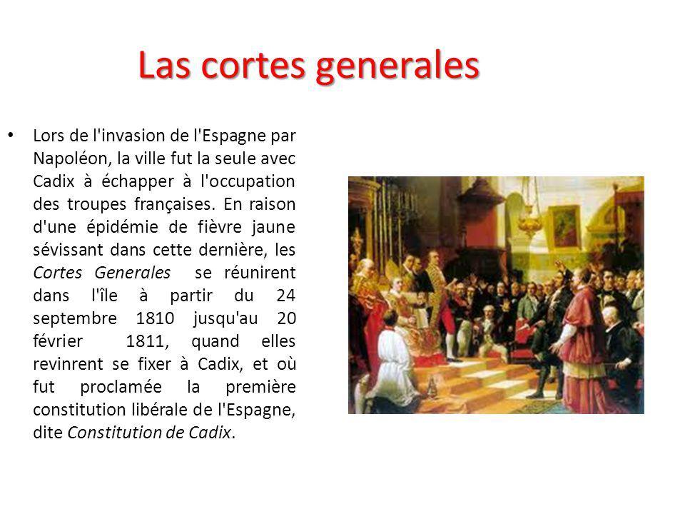 Origine du nom Pendant cette période, la Real Villa de la Isla de León fut déclarée capitale du Royaume et un gouvernement provisoire ainsi qu une capitainerie générale y siégèrent.