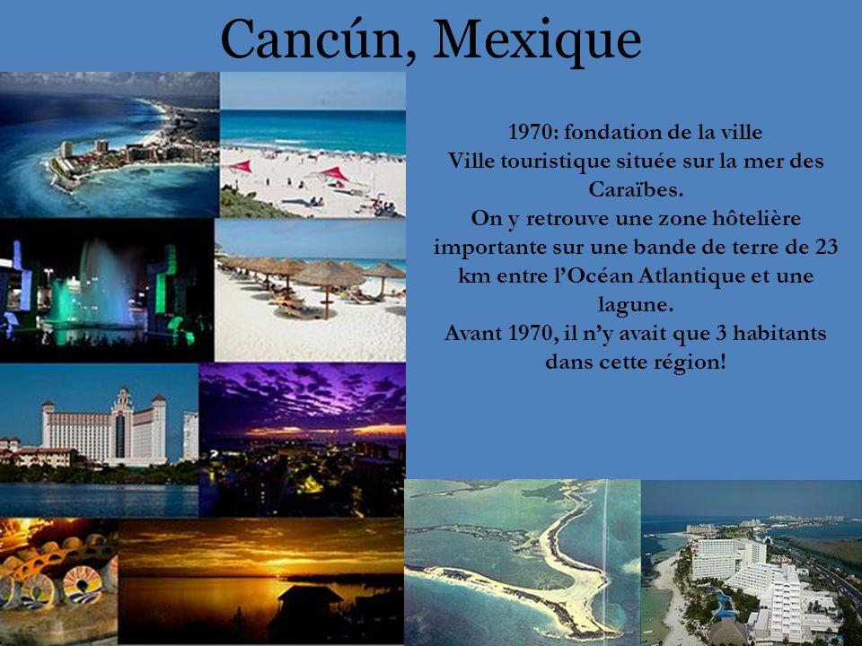 Cancún, Mexique 1970: fondation de la ville Ville touristique située sur la mer des Caraïbes.