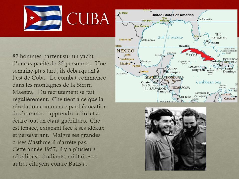 CUBA 82 hommes partent sur un yacht d'une capacité de 25 personnes. Une semaine plus tard, ils débarquent à l'est de Cuba. Le combat commence dans les