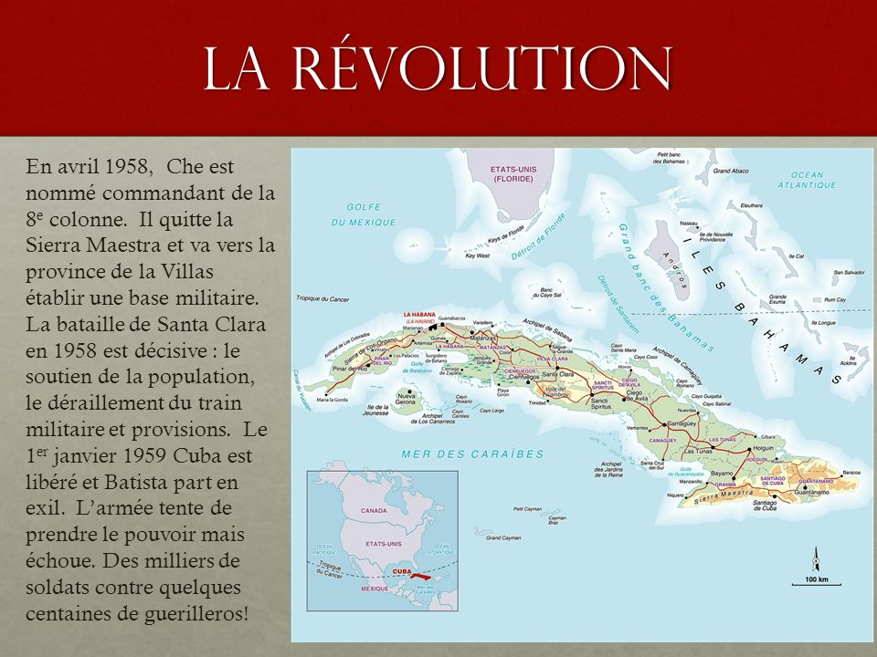 la révolution En avril 1958, Che est nommé commandant de la 8 e colonne. Il quitte la Sierra Maestra et va vers la province de la Villas établir une b