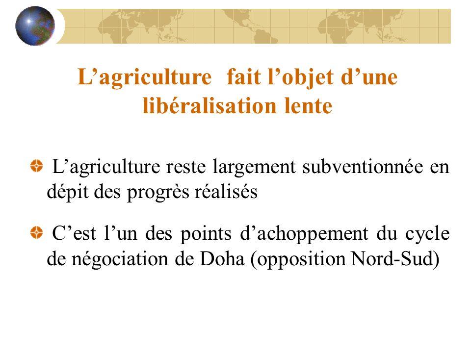 L'agriculture fait l'objet d'une libéralisation lente L'agriculture reste largement subventionnée en dépit des progrès réalisés C'est l'un des points