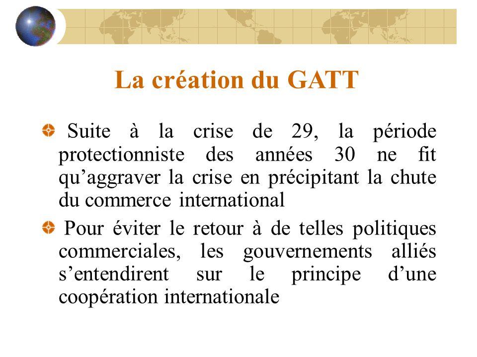 Les principaux cycles de négociation Genève (1947) : 23 pays Kennedy (1964-67) : 48 pays Tokyo (1973-79) : 99 pays Uruguay (1986-93) : 120 pays Doha (2001- 2011) : 153 pays