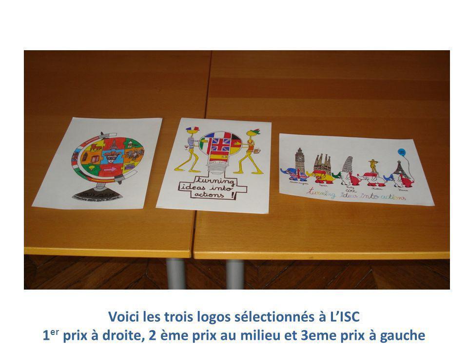 Voici les trois logos sélectionnés à L'ISC 1 er prix à droite, 2 ème prix au milieu et 3eme prix à gauche