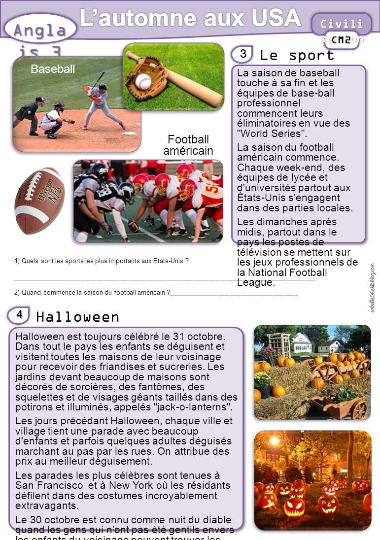 Le sport Angla is 3 3 CM2 La saison de baseball touche à sa fin et les équipes de base-ball professionnel commencent leurs éliminatoires en vue des World Series .