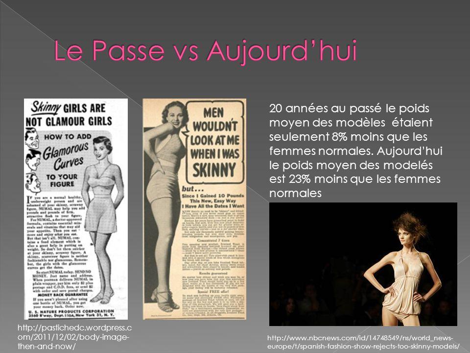 http://pastichedc.wordpress.c om/2011/12/02/body-image- then-and-now/ 20 années au passé le poids moyen des modèles étaient seulement 8% moins que les femmes normales.