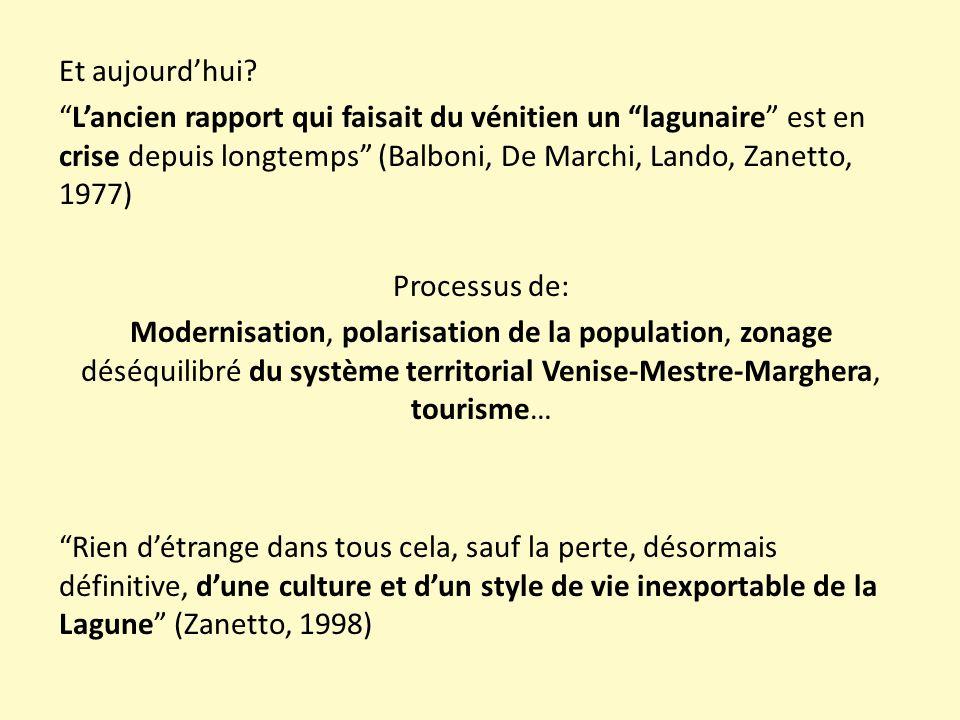 """Et aujourd'hui? """"L'ancien rapport qui faisait du vénitien un """"lagunaire"""" est en crise depuis longtemps"""" (Balboni, De Marchi, Lando, Zanetto, 1977) Pro"""