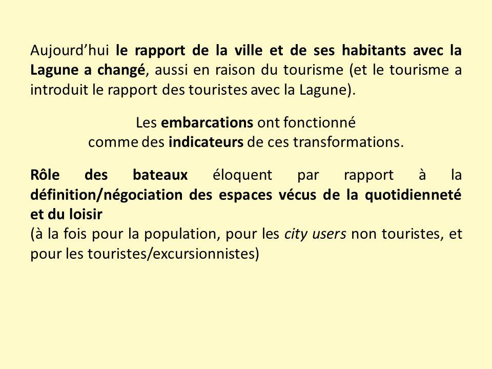 Aujourd'hui le rapport de la ville et de ses habitants avec la Lagune a changé, aussi en raison du tourisme (et le tourisme a introduit le rapport des touristes avec la Lagune).