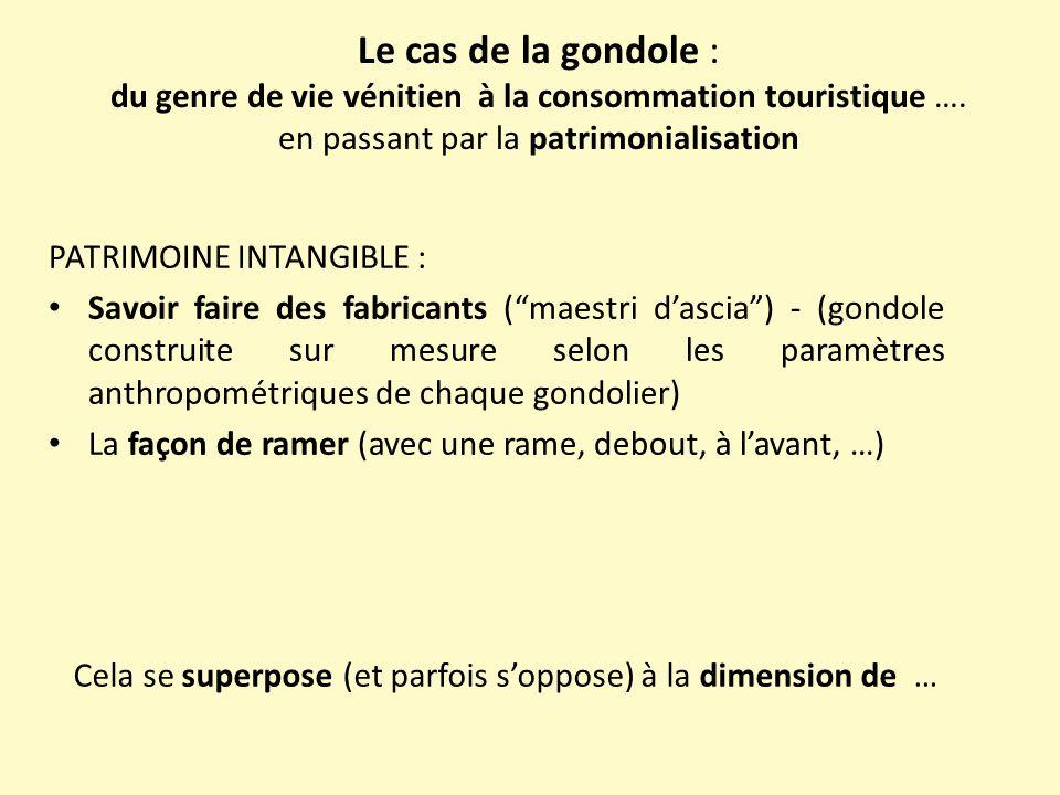 Le cas de la gondole : du genre de vie vénitien à la consommation touristique …. en passant par la patrimonialisation PATRIMOINE INTANGIBLE : Savoir f