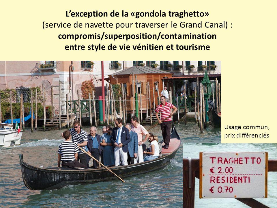 L'exception de la «gondola traghetto» (service de navette pour traverser le Grand Canal) : compromis/superposition/contamination entre style de vie vénitien et tourisme Usage commun, prix différenciés