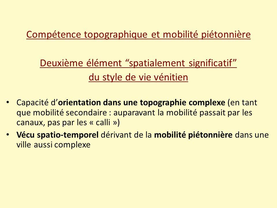 Compétence topographique et mobilité piétonnière Deuxième élément spatialement significatif du style de vie vénitien Capacité d'orientation dans une topographie complexe (en tant que mobilité secondaire : auparavant la mobilité passait par les canaux, pas par les « calli ») Vécu spatio-temporel dérivant de la mobilité piétonnière dans une ville aussi complexe