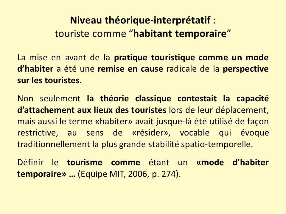 Niveau théorique-interprétatif : touriste comme habitant temporaire La mise en avant de la pratique touristique comme un mode d'habiter a été une remise en cause radicale de la perspective sur les touristes.