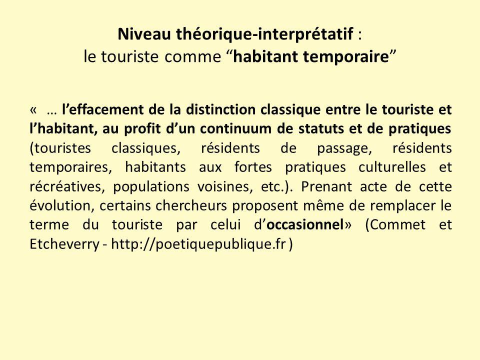 """Niveau théorique-interprétatif : le touriste comme """"habitant temporaire"""" « … l'effacement de la distinction classique entre le touriste et l'habitant,"""