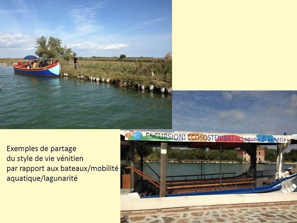 Exemples de partage du style de vie vénitien par rapport aux bateaux/mobilité aquatique/lagunarité