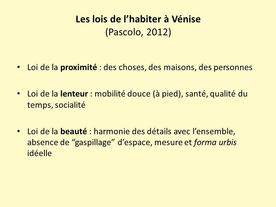 Les lois de l'habiter à Vénise (Pascolo, 2012) Loi de la proximité : des choses, des maisons, des personnes Loi de la lenteur : mobilité douce (à pied