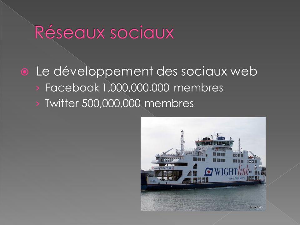  Le développement des sociaux web › Facebook 1,000,000,000 membres › Twitter 500,000,000 membres