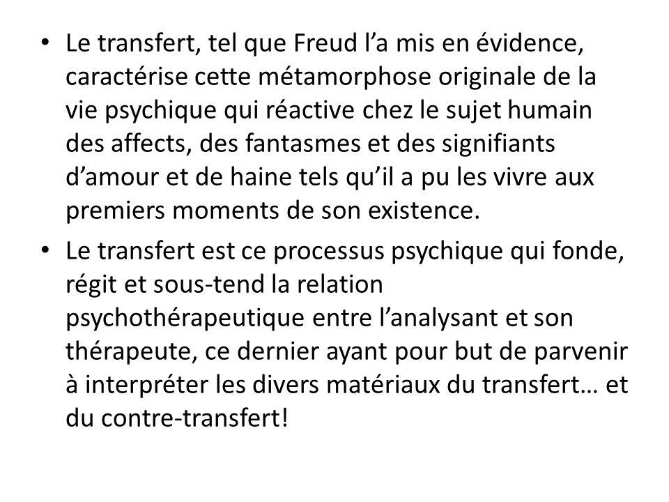 Le transfert, tel que Freud l'a mis en évidence, caractérise cette métamorphose originale de la vie psychique qui réactive chez le sujet humain des af