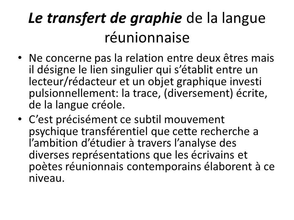 Le transfert de graphie de la langue réunionnaise Ne concerne pas la relation entre deux êtres mais il désigne le lien singulier qui s'établit entre u