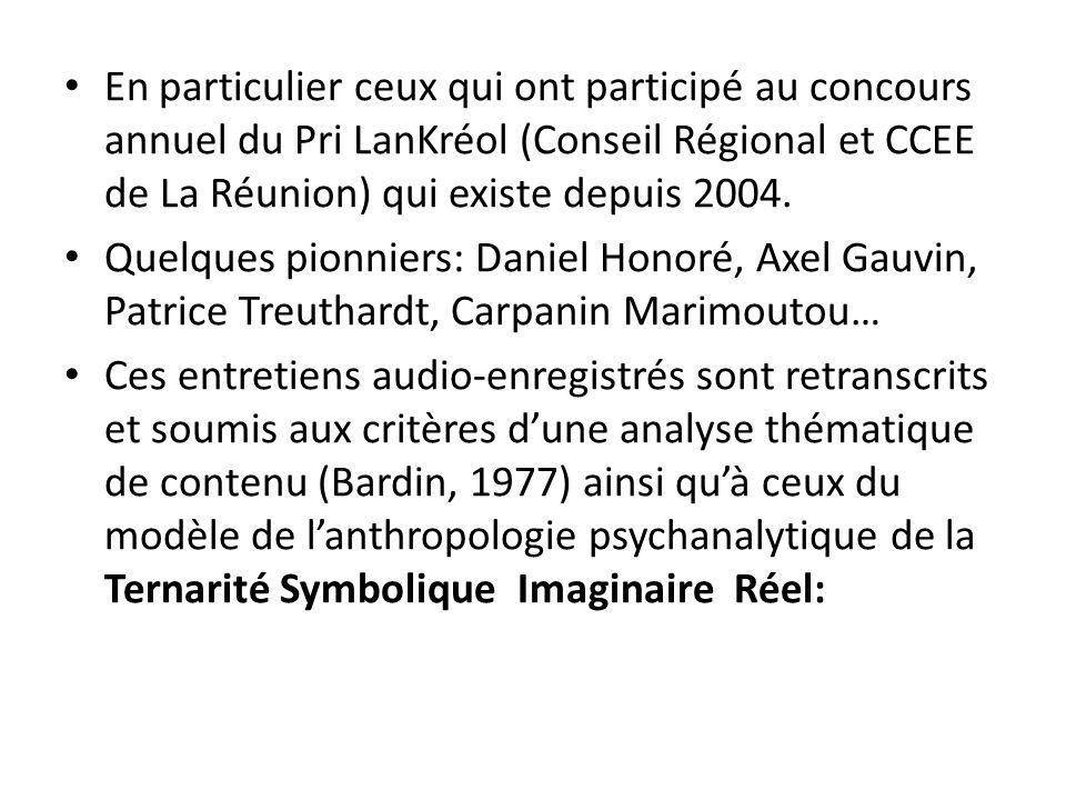 En particulier ceux qui ont participé au concours annuel du Pri LanKréol (Conseil Régional et CCEE de La Réunion) qui existe depuis 2004. Quelques pio