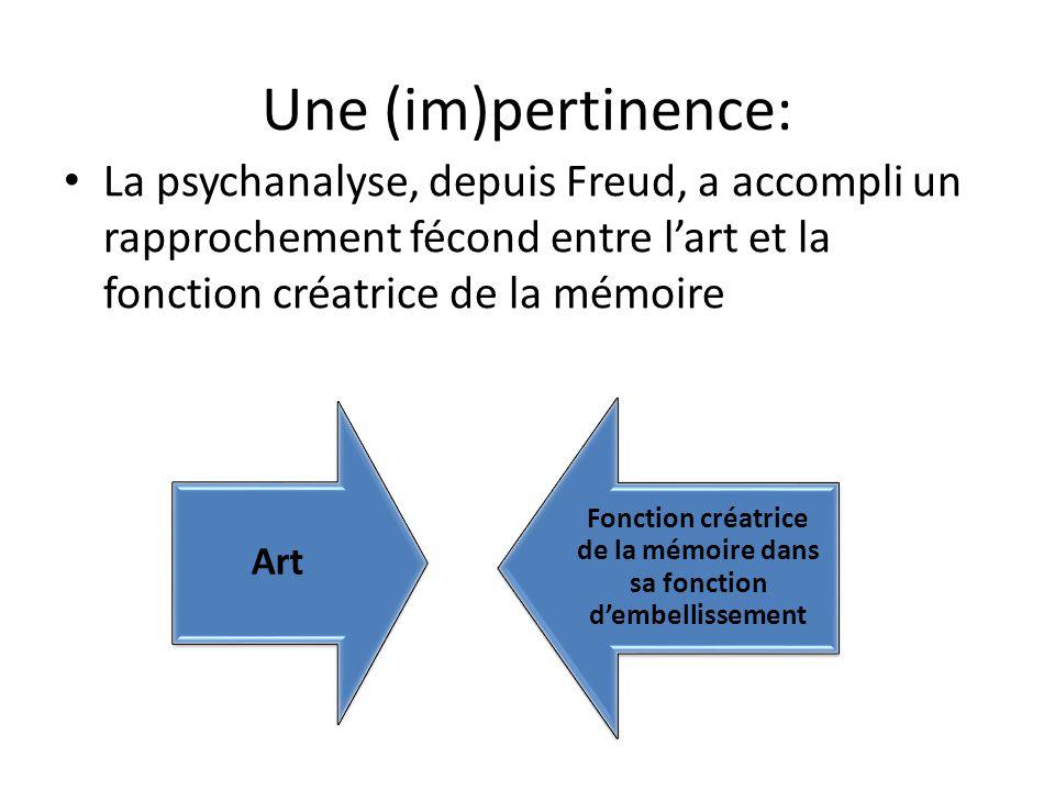 Une (im)pertinence: La psychanalyse, depuis Freud, a accompli un rapprochement fécond entre l'art et la fonction créatrice de la mémoire Art Fonction