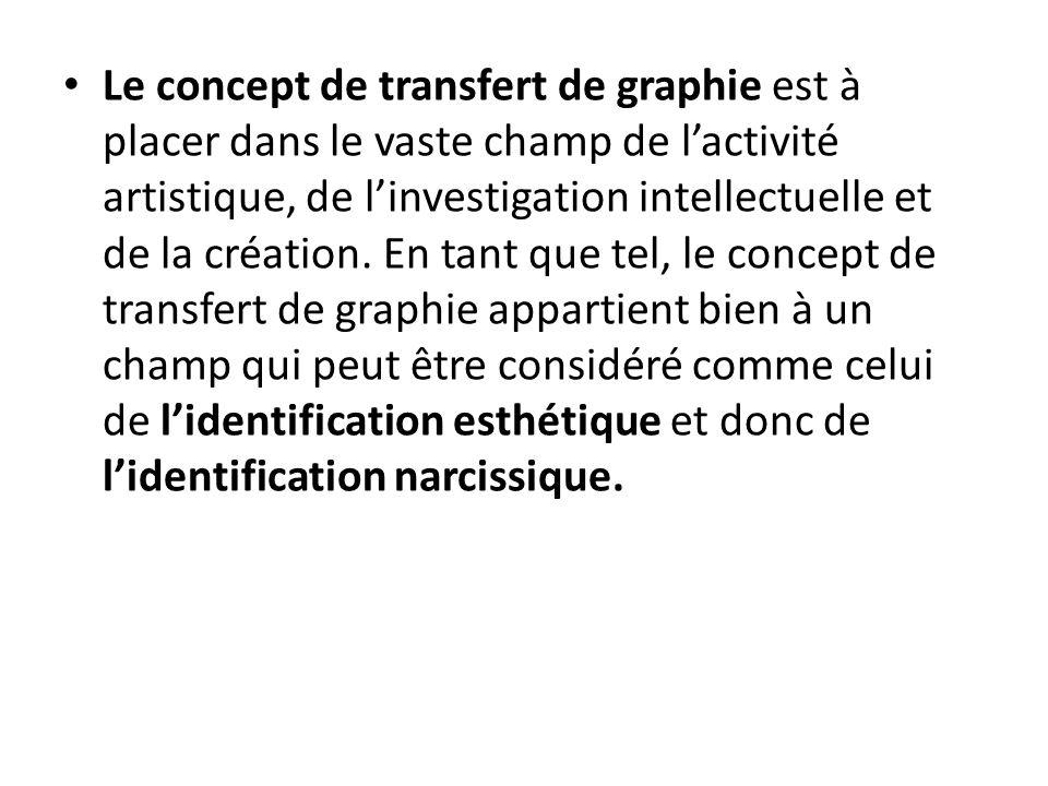 Le concept de transfert de graphie est à placer dans le vaste champ de l'activité artistique, de l'investigation intellectuelle et de la création. En